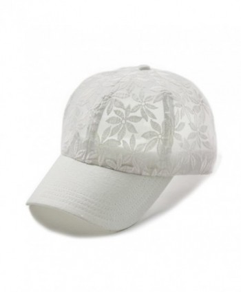 Hatsandscarf CC Exclusives Cotton Lace with Solid Brim Baseball Cap (BA-53) - White - C117X3L6MDR
