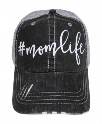 NEW!! White Glitter MomLife Distressed Look Grey Trucker Cap Hat Fashion - CG12MXD03CI