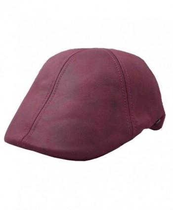 Epoch Men's Leather Feel Ivy Newsboy Duckbill Cap Hat - Burgundy - CZ17YH9R9M0