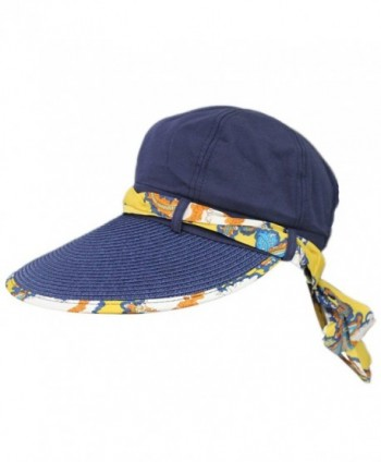 Women Summer Beach Big Brim Straw Cotton Top Ribbon Travel Folding Hat Cap Visor - Navy - CS12DIFCTZ9