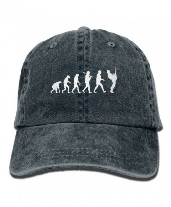 Men Women Guitar Player Evolution Funny Denim Fabric Baseball Hat Adjustable Hip-hop Cap - Navy - CQ187OSRSYN