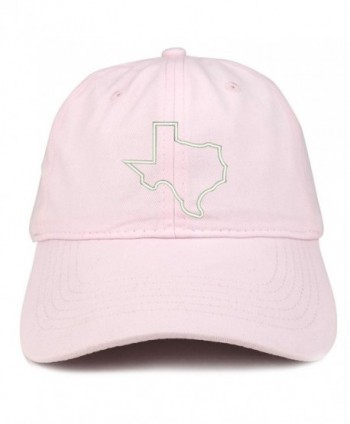 Trendy Apparel Shop Texas State Outline Embroidered Brushed Cotton Dad Hat Cap - Light Pink - CH185HO4YNE
