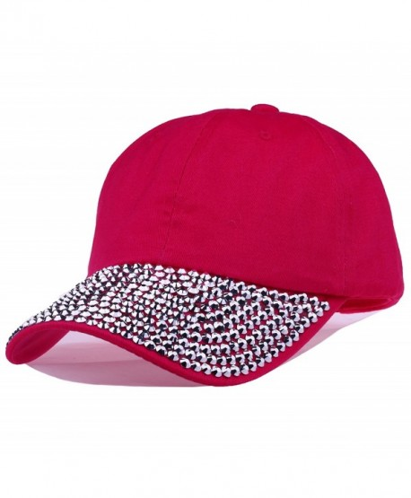Deer Mum Lady Studded Rhinestone Crystals Adjustable Baseball Cap - g-pink - CF11RR34EC5