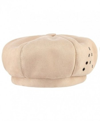 Jelord Women Winter Faux Suede Newsboy Cabbie Painter Cap - Beige - CH187LMI8NX