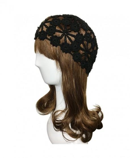 ZORJAR 100% Handmade Linen Plum Blossom Design Crochet Knit Hat Cap For 3 Seasons - Black - CX184WSKZMU