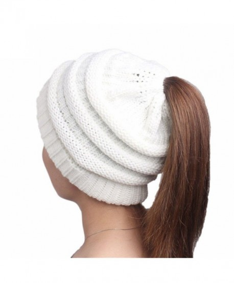 H_US000 HS Women Winter Warm Knit Soft Slouchy Beanie Hats Braided Hat With Holes Ponytail Hat (White) - CG188X85ZHN