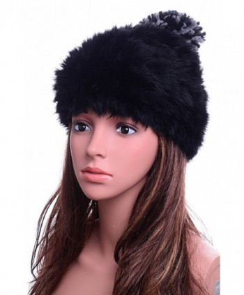 Odema Womens Winter Fur Pom Poms Wool Skull Beanie Hats For Girls - Black - CX12O6I24MW