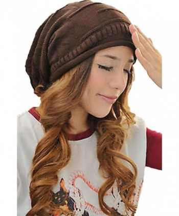 Unisex Winter Plicate Baggy Beanie Knit Crochet Ski Hat Oversized Slouch Cap - Black - C111N078V0X