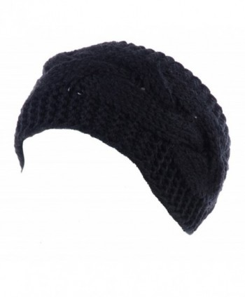 BYOS Womens Fashion Winter Cable Crochet Knit Headband With Adjustable Button - Black - CR185C37WWY