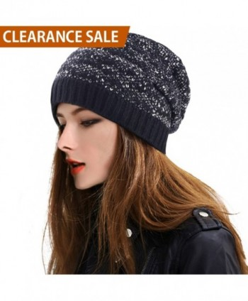 DELUXSEY Cable Slouchy Beanie Women - Black Base With Some White Mix - Chunky Cable Knit - C112N38EX0C