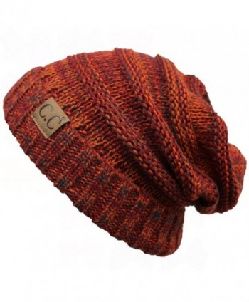 ScarvesMe C.C. Trendy Warm Oversized Chunky Soft Oversized Cable Knit Slouchy Beanie - Rust - C512KBATKP5