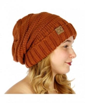 C.C Serenita Simple Oversized Slouchy Knit Winter Beanie Hat - Rust - CL1868ZCEQH