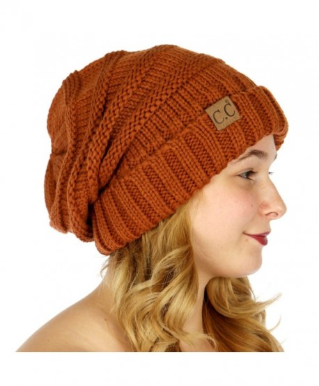 C.C Serenita Simple Oversized Slouchy Knit Winter Beanie Hat - Rust -  CL1868ZCEQH af2c56a529cf