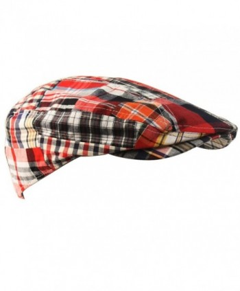 Men's Summer Preppy Tartan Plaid Front Snap Flat Golf Ivy Driving Cap Hat - Red - C311XJLZKF9