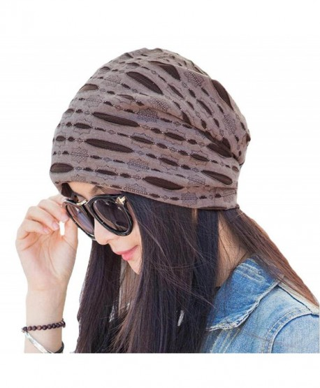 Century Star Women's Stylish Cotton Slouch Hollow Beanie Cap Slouchy Skull Hat - Coffee - C812K8VPM1J
