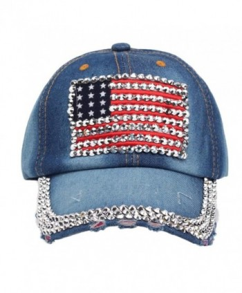 Gotd Womens Girls Full Diamond Flag Flat Snapback Hat Cowboy Hip-Hop Baseball Cap - 3 - CA12G5OSFM1