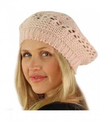 Winter Warm Pretty Open Weave Knit Beret Tam Beanie Skully Hat Ski Cap - Pink - C111G7ZCPAL