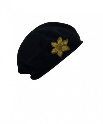 Beret With Pointy Gold Flower Women 100% Cotton Hat For Hair Loss Fashion Modesty - Black - C911UPODTSN