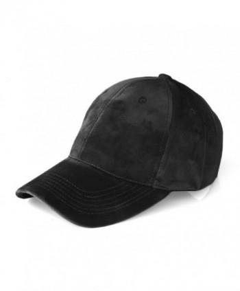 JOOWEN Unisex Soft Velvet Baseball Cap 6 Panels Solid Adjustable Sports Hat - Black - CT12O5N7TQ4