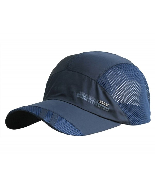 FEOYA Men's Summer Outdoor Sport Outdoor Sports Mesh Hat Running Visor Sun Cap - Navy Blue - CW12JS6K4DB