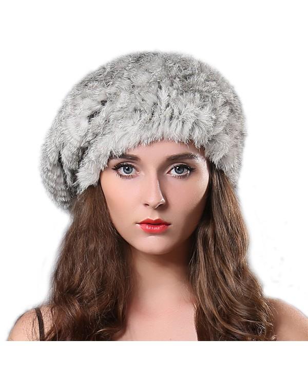 FURTALK Women Winter Fur Beret Hat - Rex Rabbit Fur Knitted Warm Cap Original - Grey - CV122V3G9W3