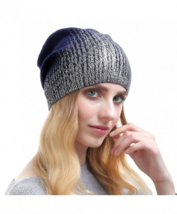 Beanie Hats For Women - Knit Cashmere Hat Caps Winter Fashion Bling Beanies - Dark Blue With Silver - C9187CA8M80