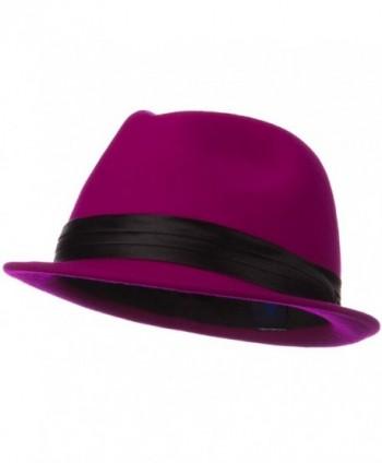 4f527f8a8d7 Ladies Wool Felt Fedora Hat - Fuchsia - C01190QL6RD