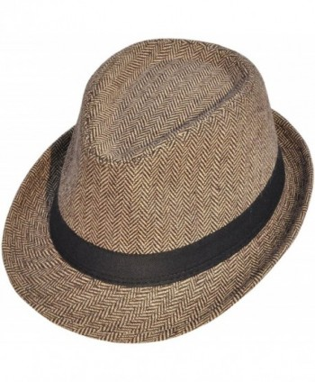 Classic Gangster Stain-Resistant Crushable Gentleman's Fedora - 01_brown/Tan - CA12O5SJ4JT