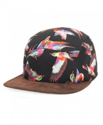 GP Accessories Mens Womens Bird Print Faux Leather Visor 5 Panel Hat - Bird Black - C711Q11GGYD