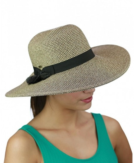 5531722c70b5f C.C Women s Solid Color Band with Tassel Summer Beach Floppy Brim Sun Hat -  Brown Combo