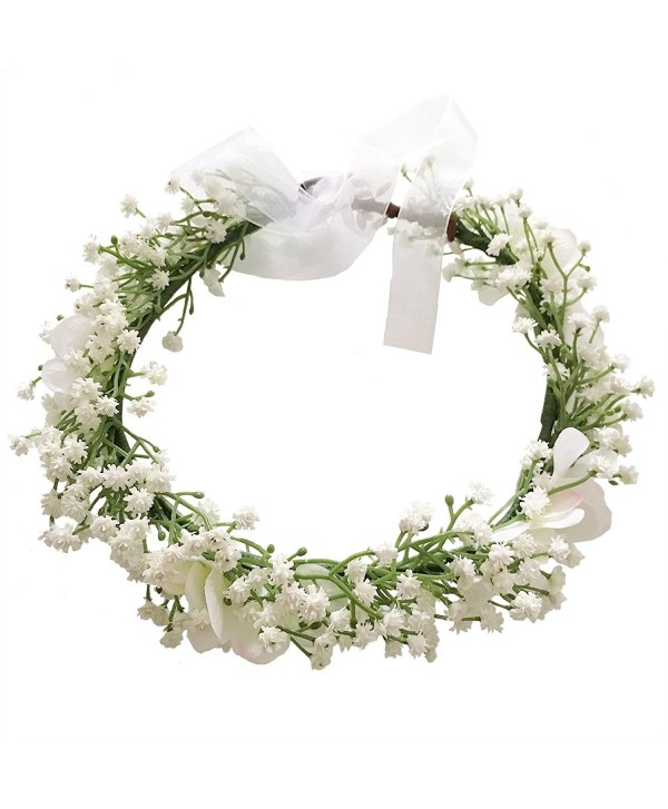 Cuteadorn Bridal Baby Breath Flower Crown Headband For Women & Girls Hair Wreath With Adjustable Ribbon - White - C1185LI2SXQ