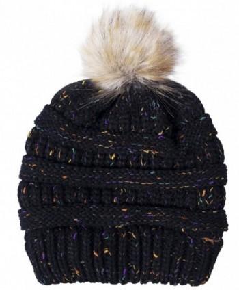 Amandir Confetti Knit Beanie - CC Style Ribbed Cable Knit Pom Pom Beanie Hat - Black - CE188TE9UKG