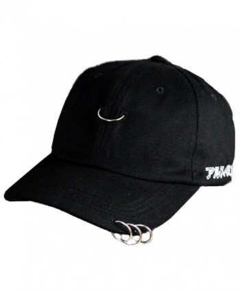 YABINA Unisex Silver Ring Piercing Rock Cotton Baseball Hat Truckers - Black - CK12JKXXIBR