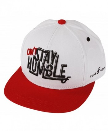 "Flat Fitty ""Can't Stay Humble"" Snapback Cap - White- Red - C711KK53YT1"
