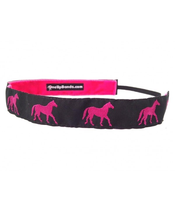 One Up Bands Women's Hot Pink/Black Horses One Size Fits Most - Pink/Jaquard - C511K9XIEBR