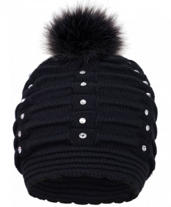 Toppers Womens Faux Fur Pompom Knit Winter Beanie Hat w/Sequins - Black - CZ18953TKAM
