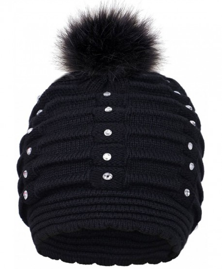 Toppers Womens Faux Fur Pompom Knit Winter Beanie Hat w Sequins - Black -  CZ18953TKAM 17b7d5f2f