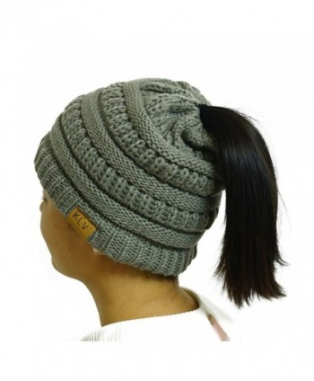 KLV CO Womens Messy Bun Beanie - Beanie Tail Soft Stretch Cable Knit High Ponytail Hat - Grey - CT187Q8G4MQ