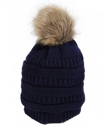 JNINTH Winter Knit Pom Pom Hat Faux Fox Raccoon Fur Cuff Beanie For Women Girls - Dark Blue - C1189463UER