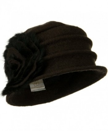 Wool Felt Hat with Big Fur Flower Ribbon - Dark Brown - CX110PN199P