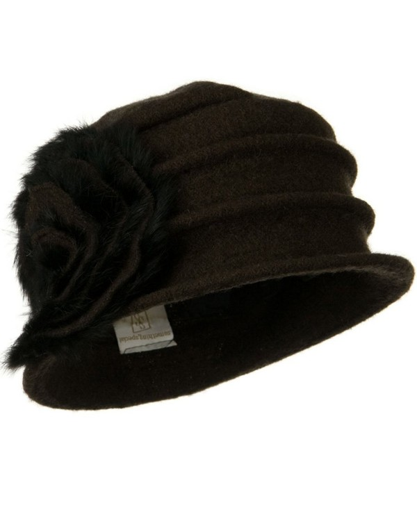 Wool Felt Hat with Big Fur Flower Ribbon - Dark Brown - CX110PN199P