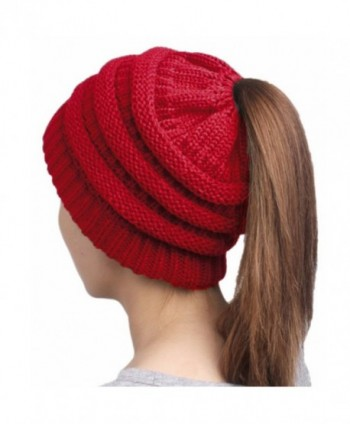 HonYea Knit Hat Warm Beanie Hat With Ponytail Hole For Women - Wine Red - CG188U25L3N