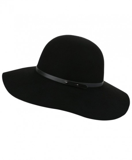3bbb996512e Sedancasesa Wide Brimmed 100% Wool Felt Floppy Hat Vintage Women Warm Triby  Hats - Black