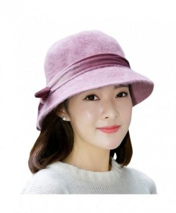 Womens Winter Wool Cap - Nercap Vintage 1920s Bow Cloche Bucket Hat - 3 - CV1873LTDG2