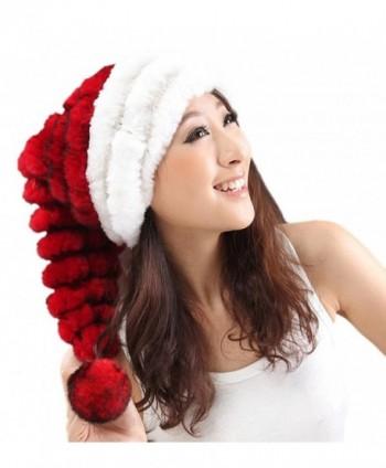 URSFUR Unisex Christmas Santa Hat Women Winter Rabbit Fur Knit Pom Beanie Cap - CA11D1X59K1