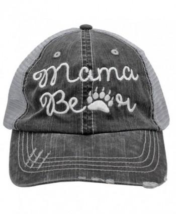 White Mama Bear Paw Print Women Embroidered Trucker Style Cap Hat - CC182ADITAY