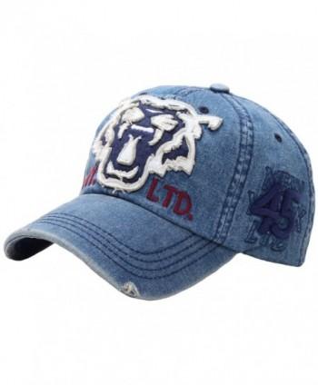 RaOn B50 Vintage Tiger Tattoo Emblem Punk Style Flat Ball Cap Baseball Hat Truckers - Denim-blue - CO12G1XVFZZ