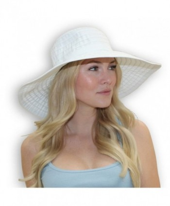 Women's Wide Brim Packable Sun Travel Hat For Large Heads - Ginger - White - C4182GHTMCC