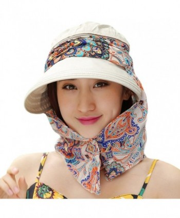 Ladies Summer Beach Cotton Big Brim Foldable Sun Floppy Sunblock Hat Hats Visor - Biege - CG12E5MN3LX