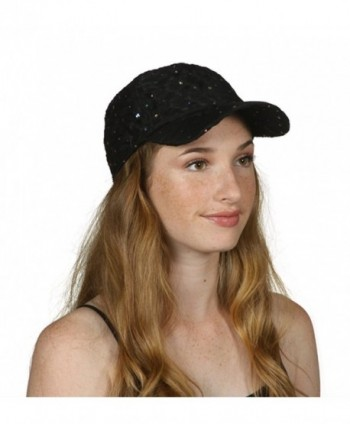 TOP HEADWEAR Womens Sequin Trim Baseball Cap - Black - CM11THI92LV